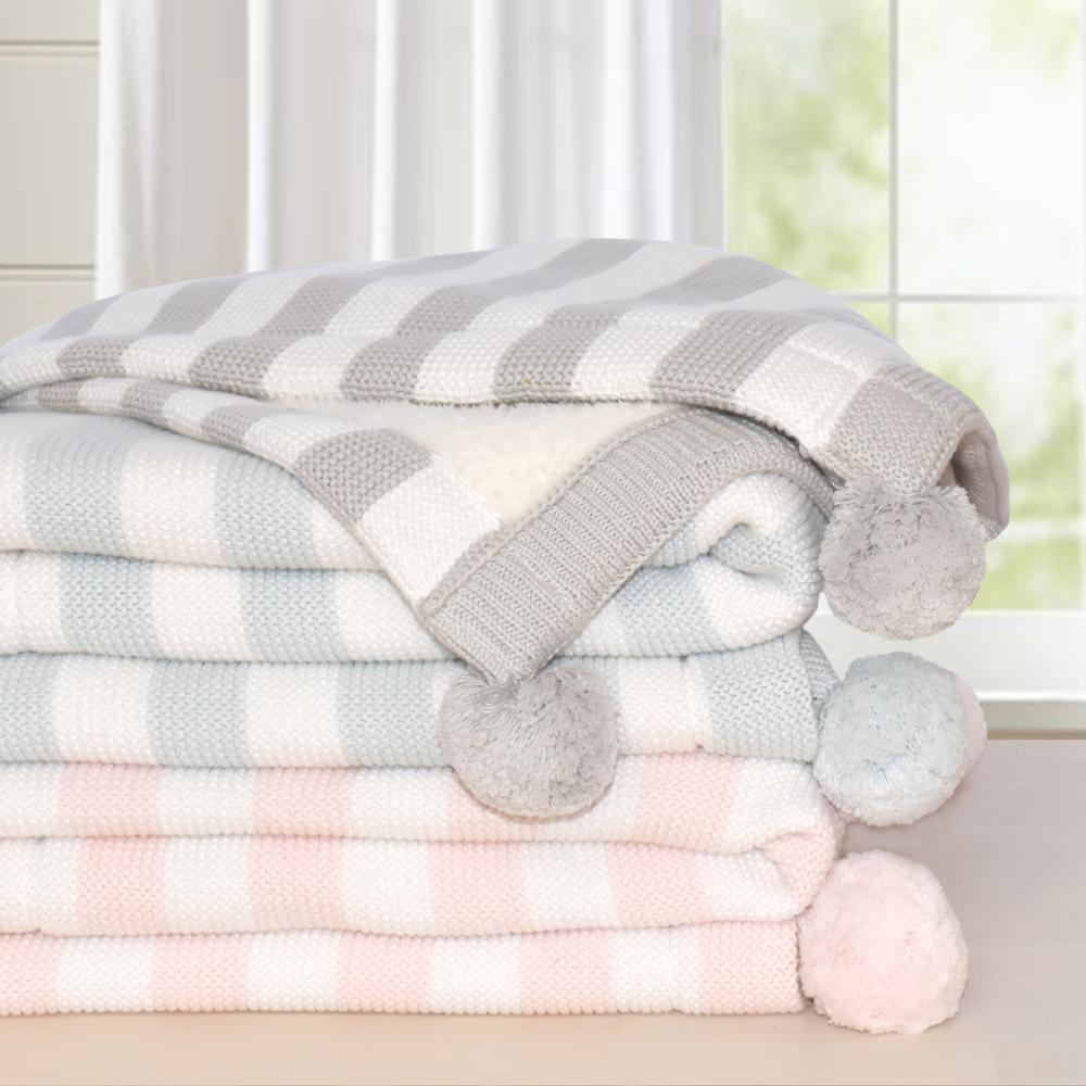 Living Textiles Luxe Pompom Sherpa Blanket