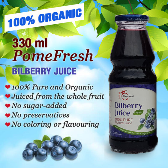 PomeFresh 100% Organic Bilberry Juice 330ml