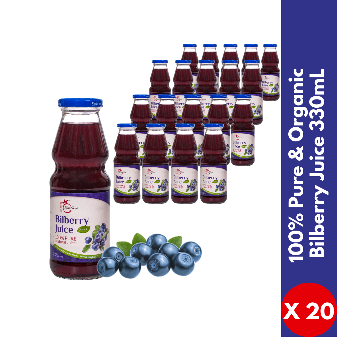 【PomeFresh】100% Pure Organic Bilberry Juice 330mlX20 - PomeFresh Organic Pte Ltd