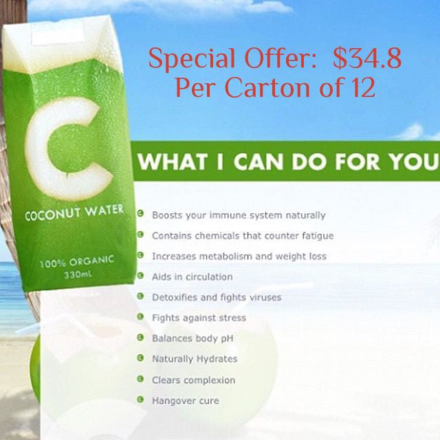 Organic Coconut Water 330ml 1 Carton - SAVE $4.2