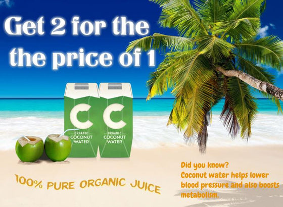 Get 2 Cartons for the Price of 1  -  Organic Coconut Water 1 Carton (1L X 12)