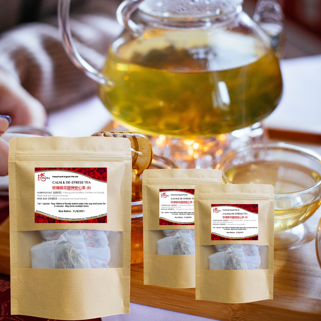 HONEYSUCKLE ROSE -  CALM & DE-STRESS TEA BAG 玫瑰银花提神安心茶 3X8 (3 Bags) - FREE Postal Delivery - PomeFresh Organic Pte Ltd