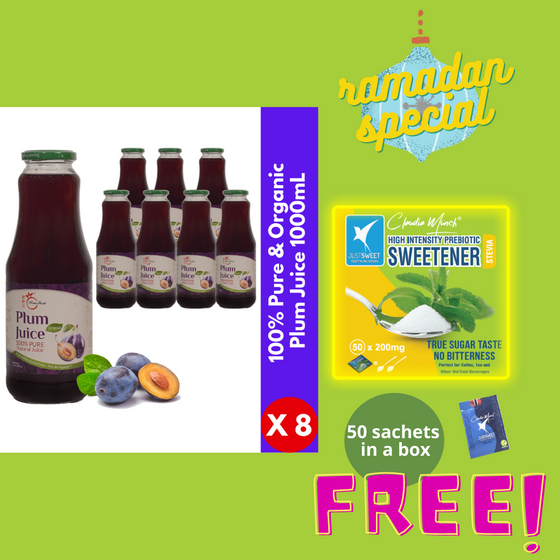 【Ramadan Bundle】- FREE One Box Pure Natural Stevia Sweetener (50 Sachets) | Buy 1 Carton 100% Pure Organic Plum Juice