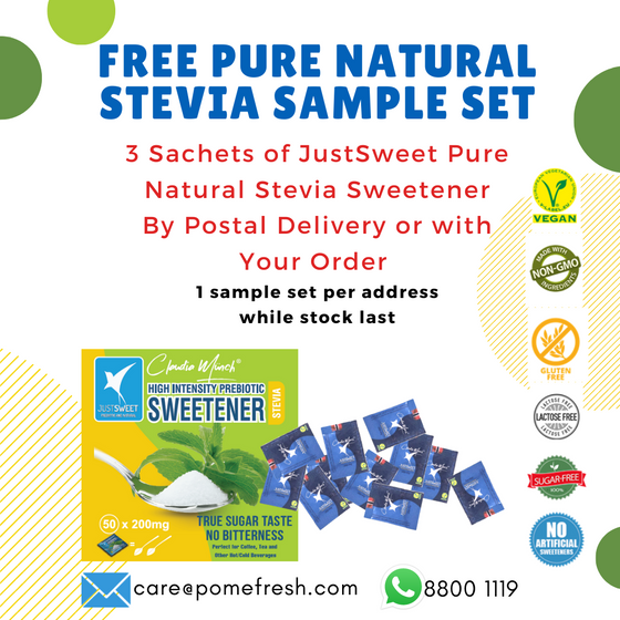 FREE JustSweet Sachet Samples (3 Sachets) - LIMITED to ONE Sample Per Address
