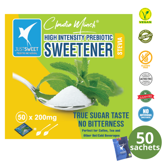 【PERFECT FOR HOT/COLD BEVERAGES】JustSweet Premium High Intensity Prebiotic Stevia Sweetener 50sachets (1 box)