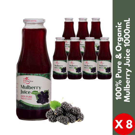【OOS - please order our  330mL carton 】PomeFresh 100% Pure Organic Mulberry Juice 1 Carton (1L X 8) - PomeFresh Organic Pte Ltd