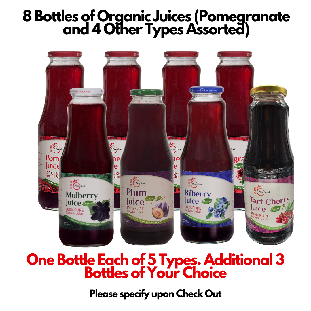 8 Bottles of Organic Juices (Pomegranate and 4 Other Types Assorted) - SAVE $12.4