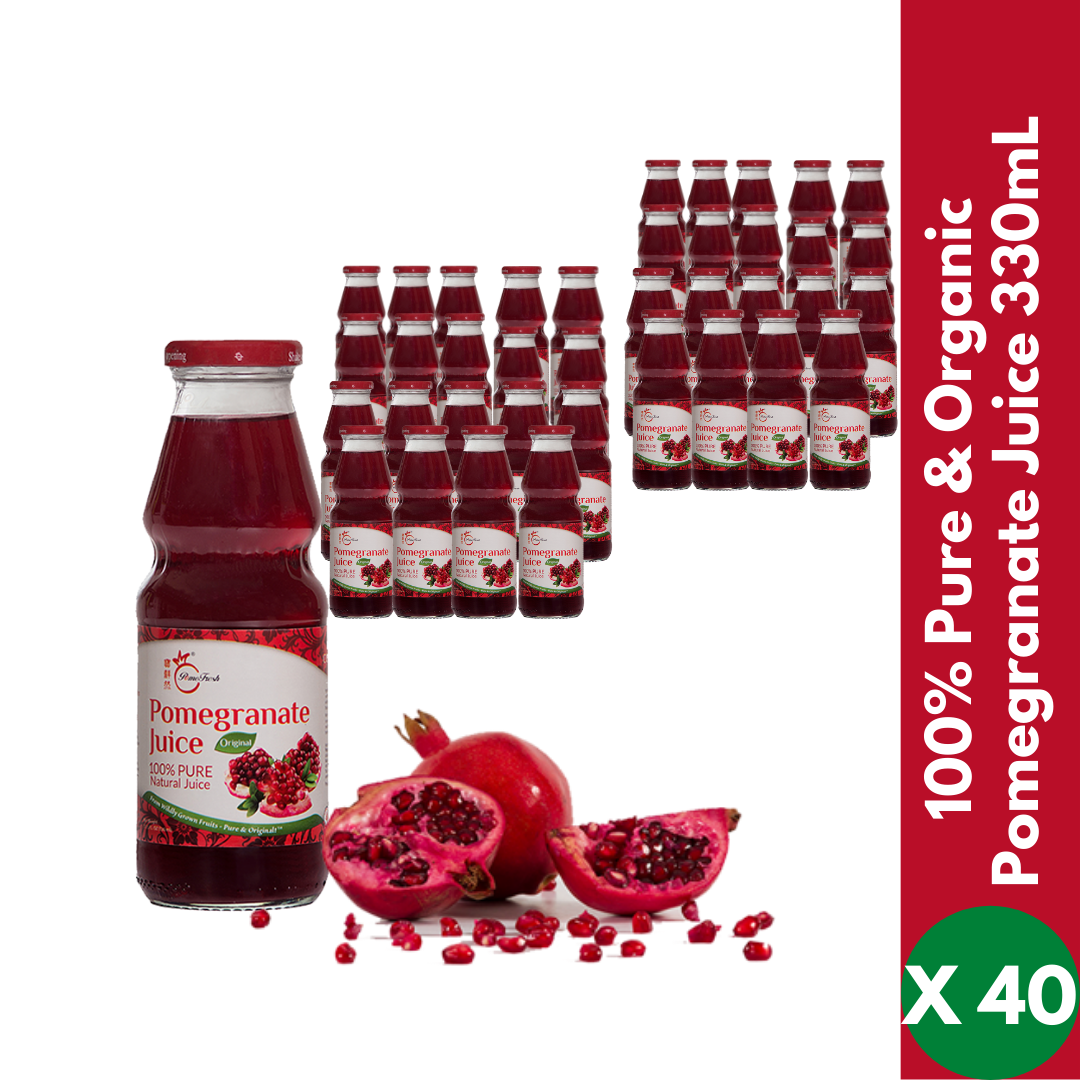 【OUT of Stock.  Please order our 1L Juice】100% Pure Organic Pomegranate Juice 330mLX40 (2 Cartons) - SAVE $36 - PomeFresh Organic Pte Ltd