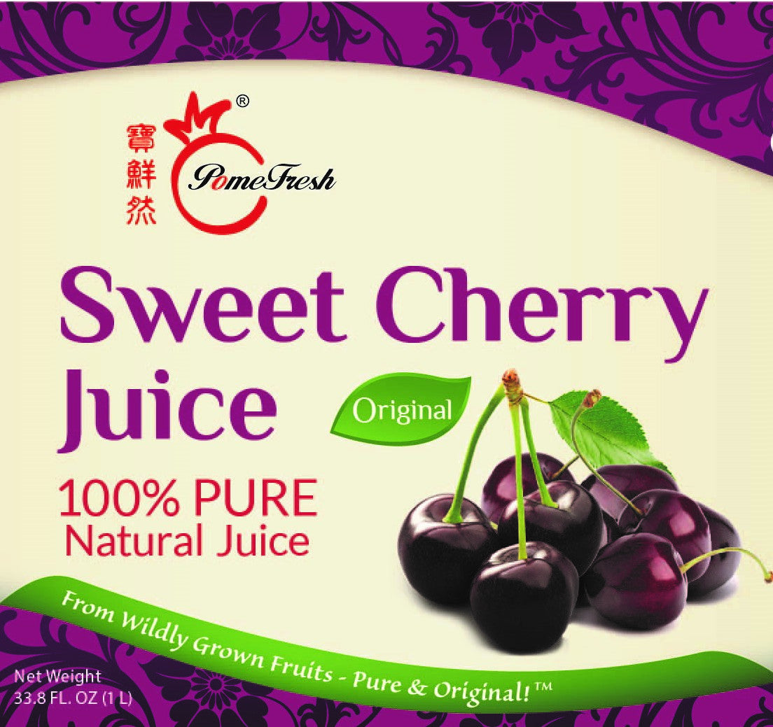 PomeFresh 100% Organic Sweet Cherry Juice 1 Carton (330ml X 20)