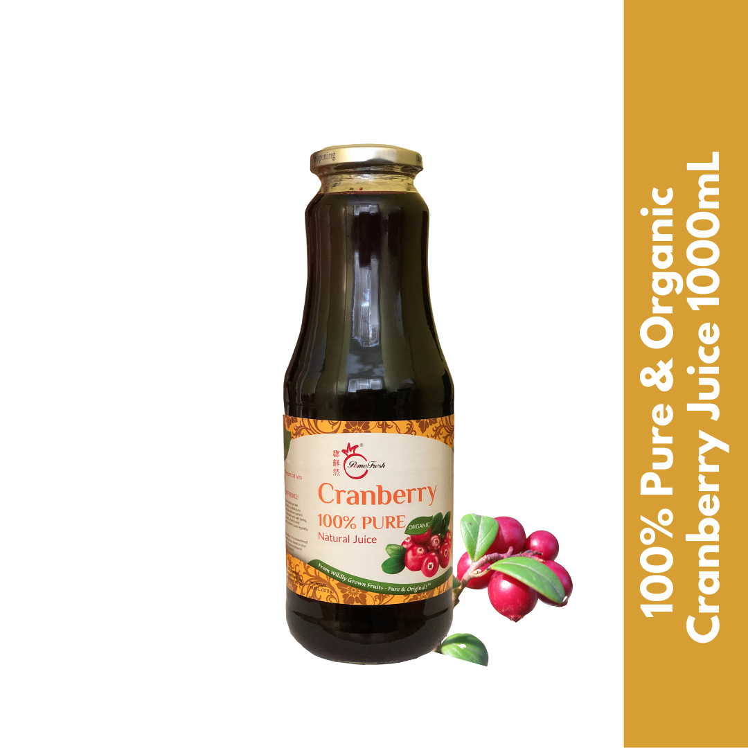 【PomeFresh】100% Pure Organic Cranberry Juice | No sugar added | Juice for UTI | 1000mL - PomeFresh Organic Pte Ltd