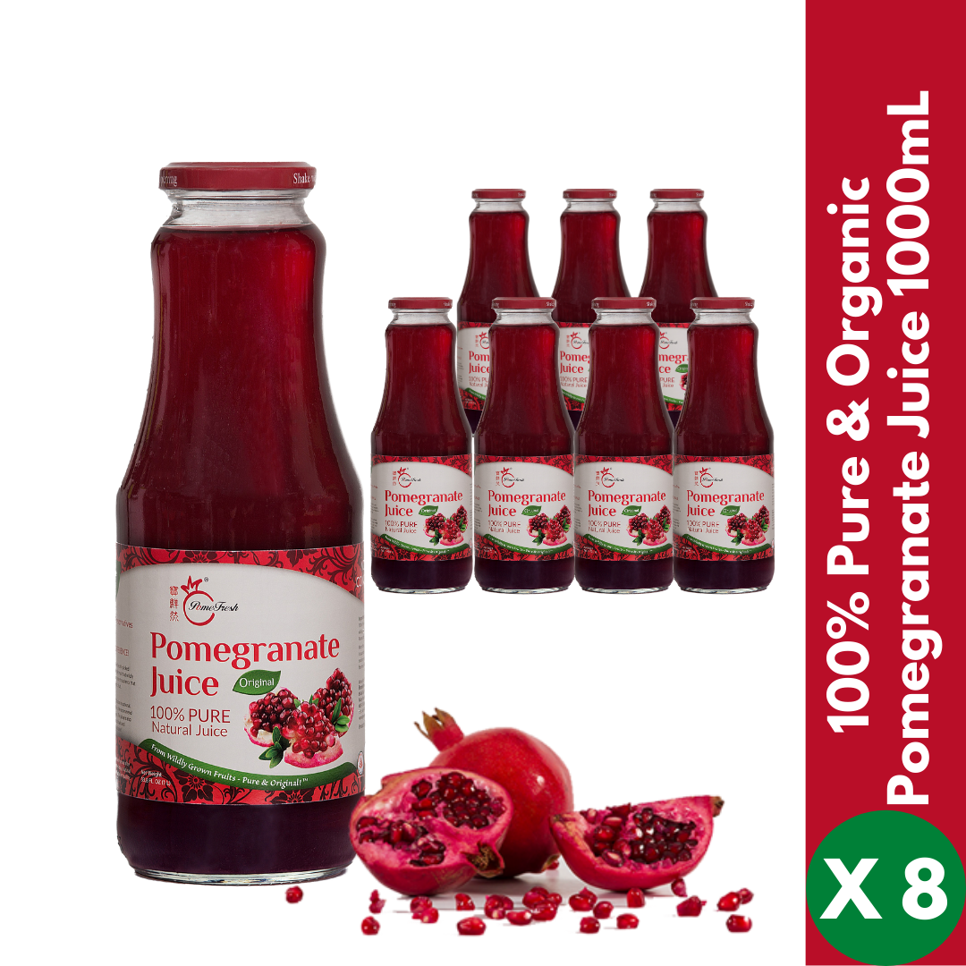 PomeFresh 100% Pure Organic Pomegranate Juice 1 Carton (1000mL X 8) - PomeFresh Organic Pte Ltd