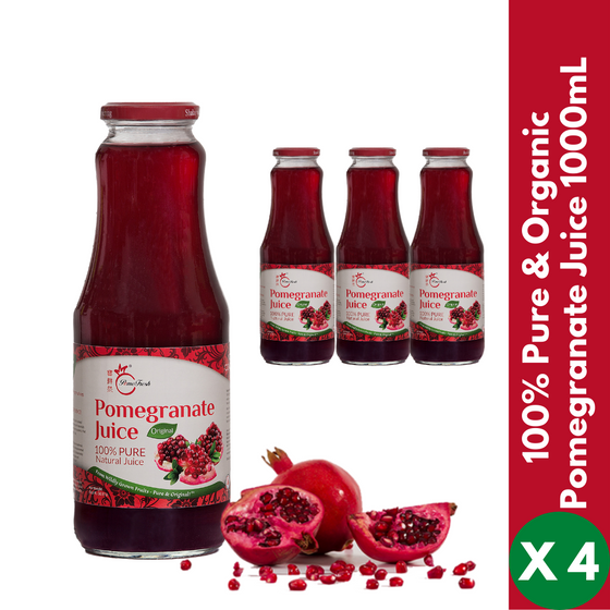 【PomeFresh】100% Pure Organic Pomegranate Juice 1000mLX4 (4 Bottles) - PomeFresh Organic Pte Ltd