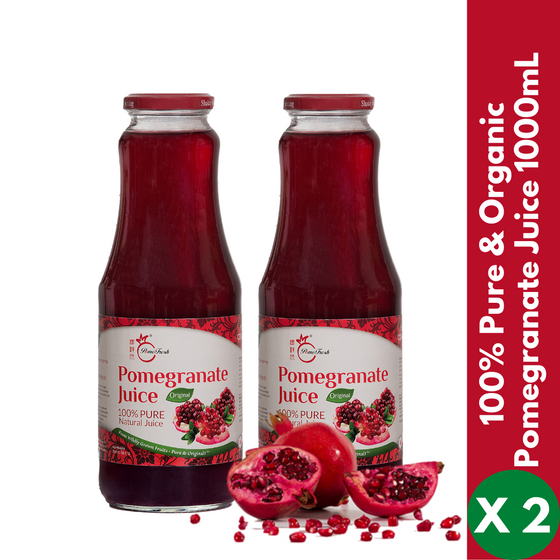 【PomeFresh】100% Pure Organic Pomegranate Juice 1000mLX2 (2 Bottles) - PomeFresh Organic Pte Ltd