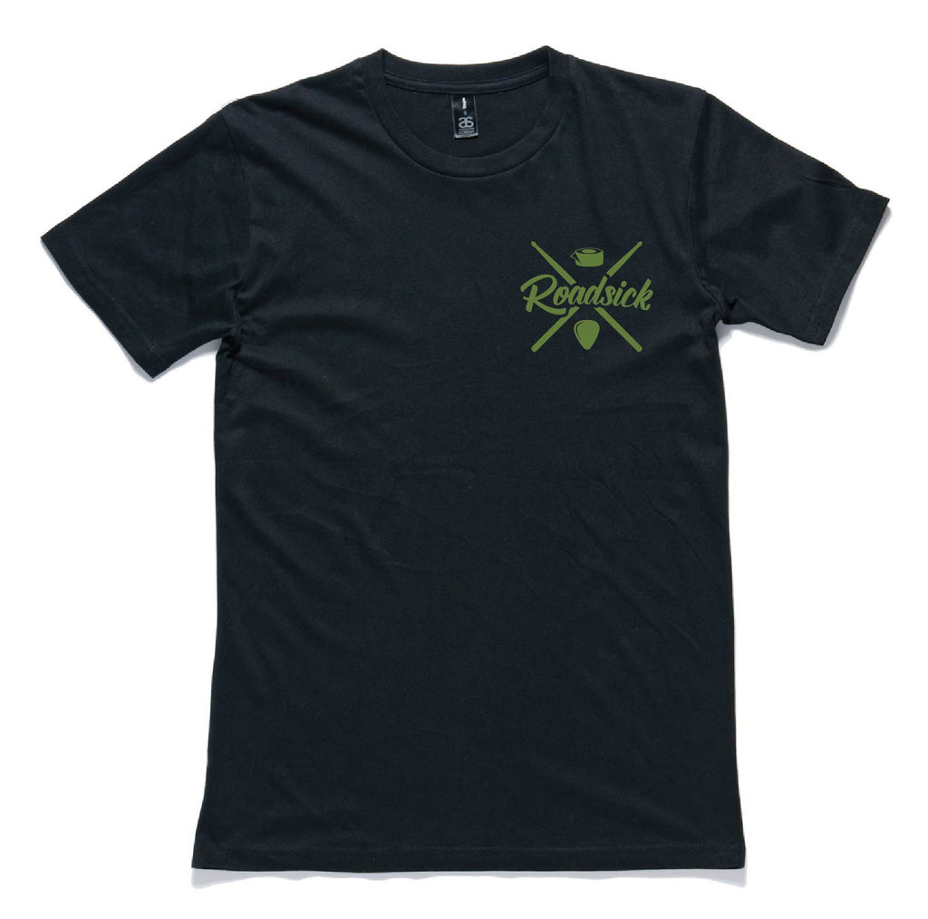 Army Green on Black Short Sleeve Logo Tee