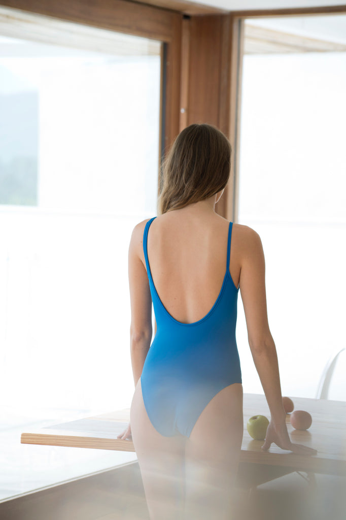Blue swimsuit back