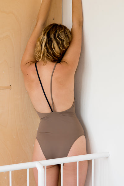 Twister Swimsuit  | Taupe