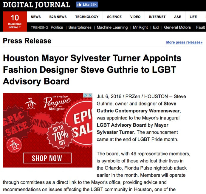 Houston Mayor Sylvester Turner Appoints Fashion Designer Steve Guthrie to LGBT Advisory Board  Read more: http://www.digitaljournal.com/pr/2996228#ixzz4DfoPeE2S