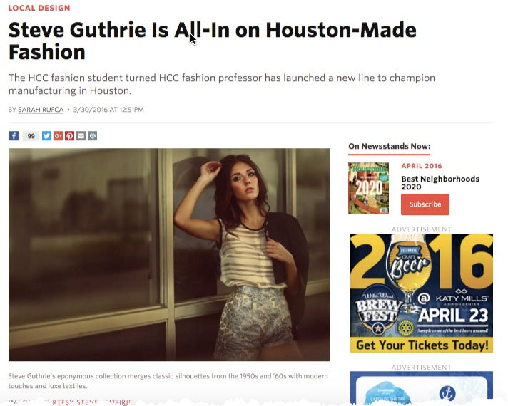 Houstonia Magazine Steve Guthrie is All-In to Houston-Made Fashion