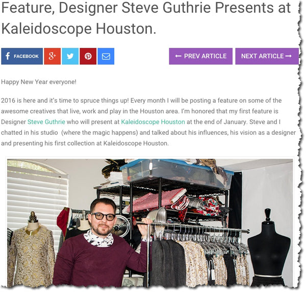 StyleByPatty.com - Feature, Designer Steve Guthrie Presents at Kaleidoscope Houston