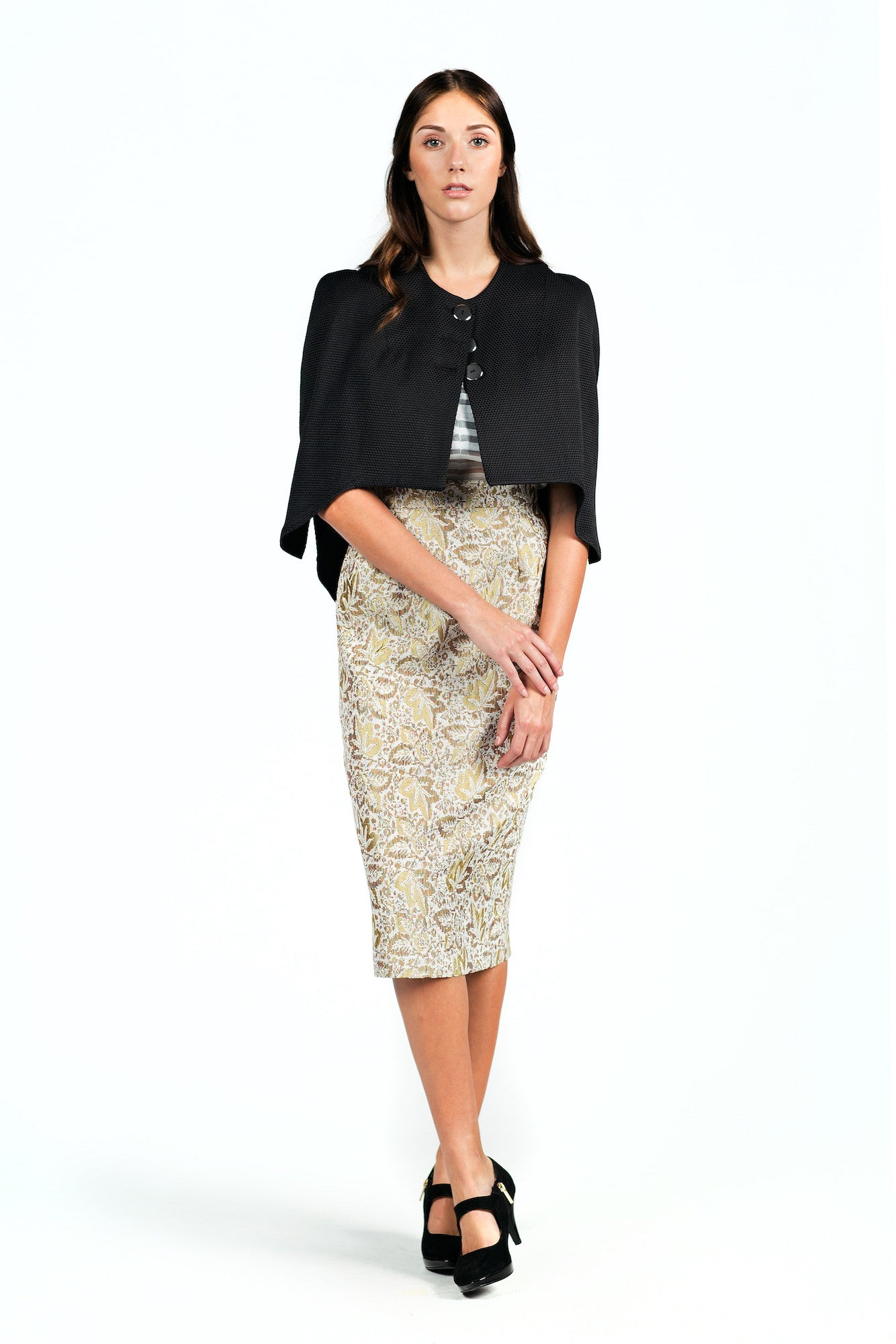Textured High-waisted Pencil Skirt for All Seasons - Steve Guthrie - 2