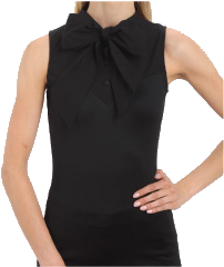 SkinnyShirt Pussy Bow Collared Sleeveless Shirt