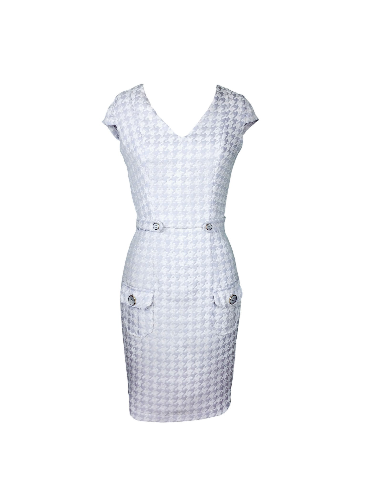 Houndstooth V-neck Dress - Steve Guthrie