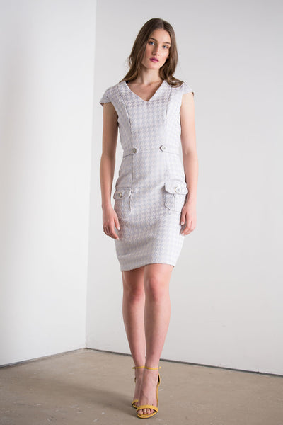 Houndstooth V-neck Dress