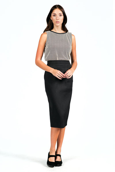 Textured High-waisted Pencil Skirt for All Seasons