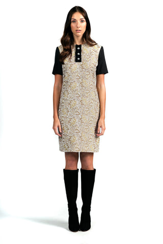 Versatile Short-sleeve Shift Dress with Ruffle Placket - Steve Guthrie Contemporary Womenswear
