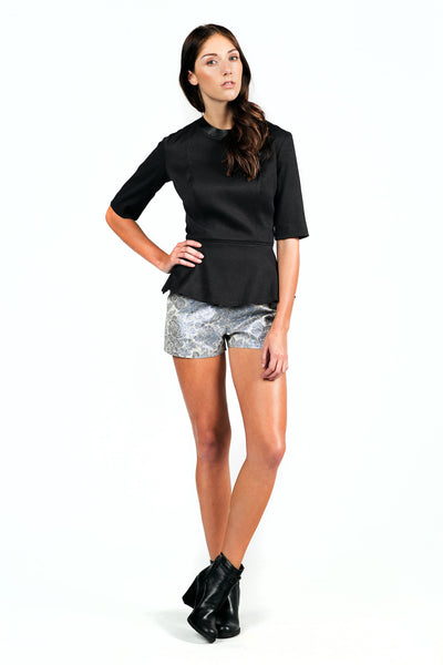 Textured High-waisted Shorts