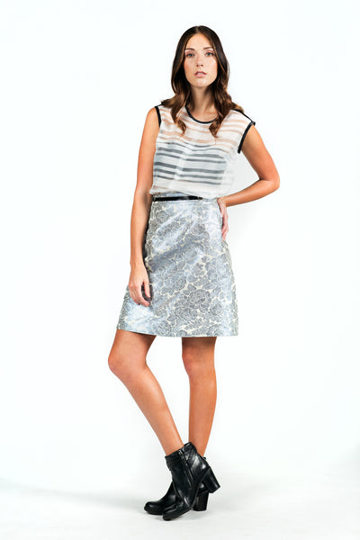 Textured A-line Skirt with Leather Detail