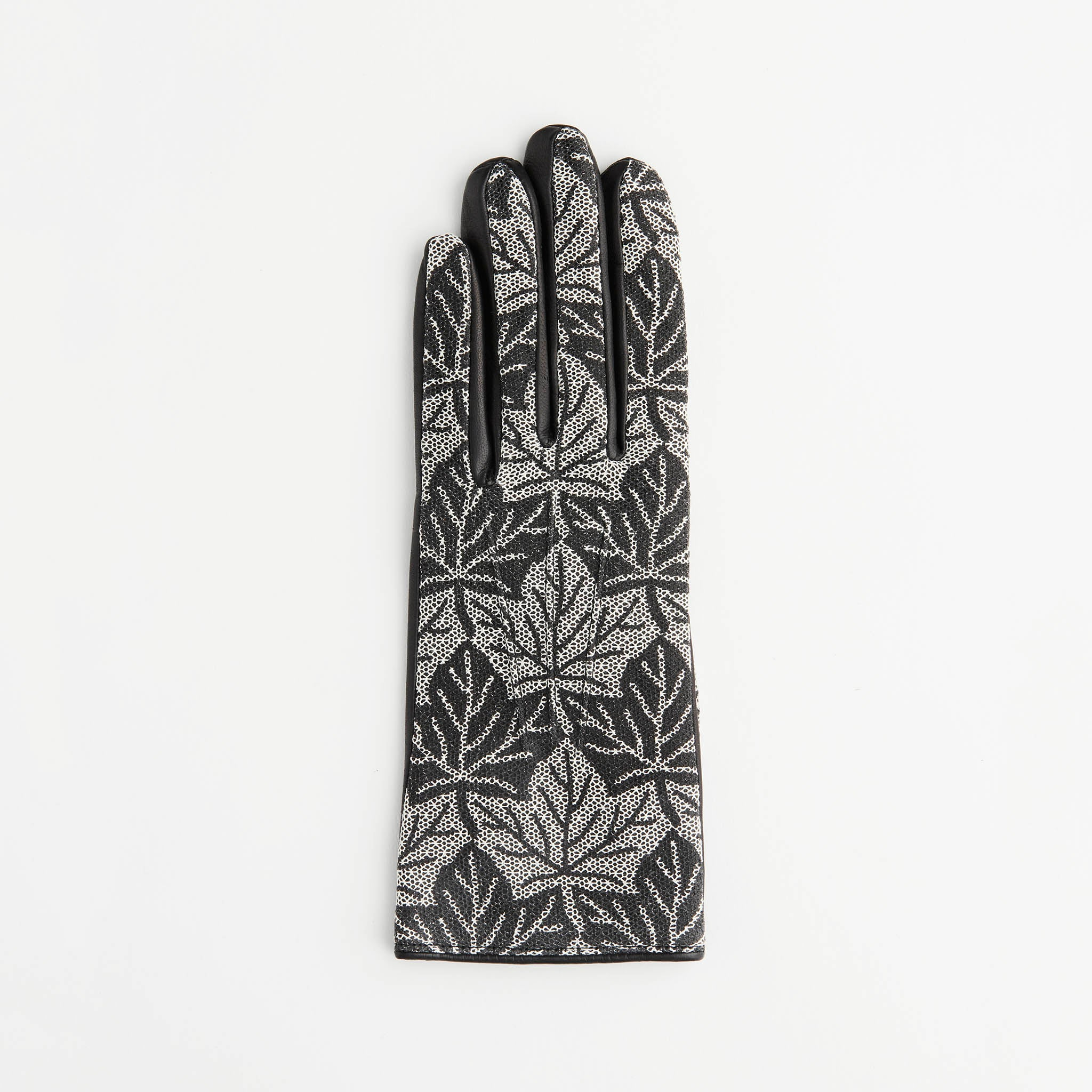 Women's Leather Gloves with Printed Lace Overlay