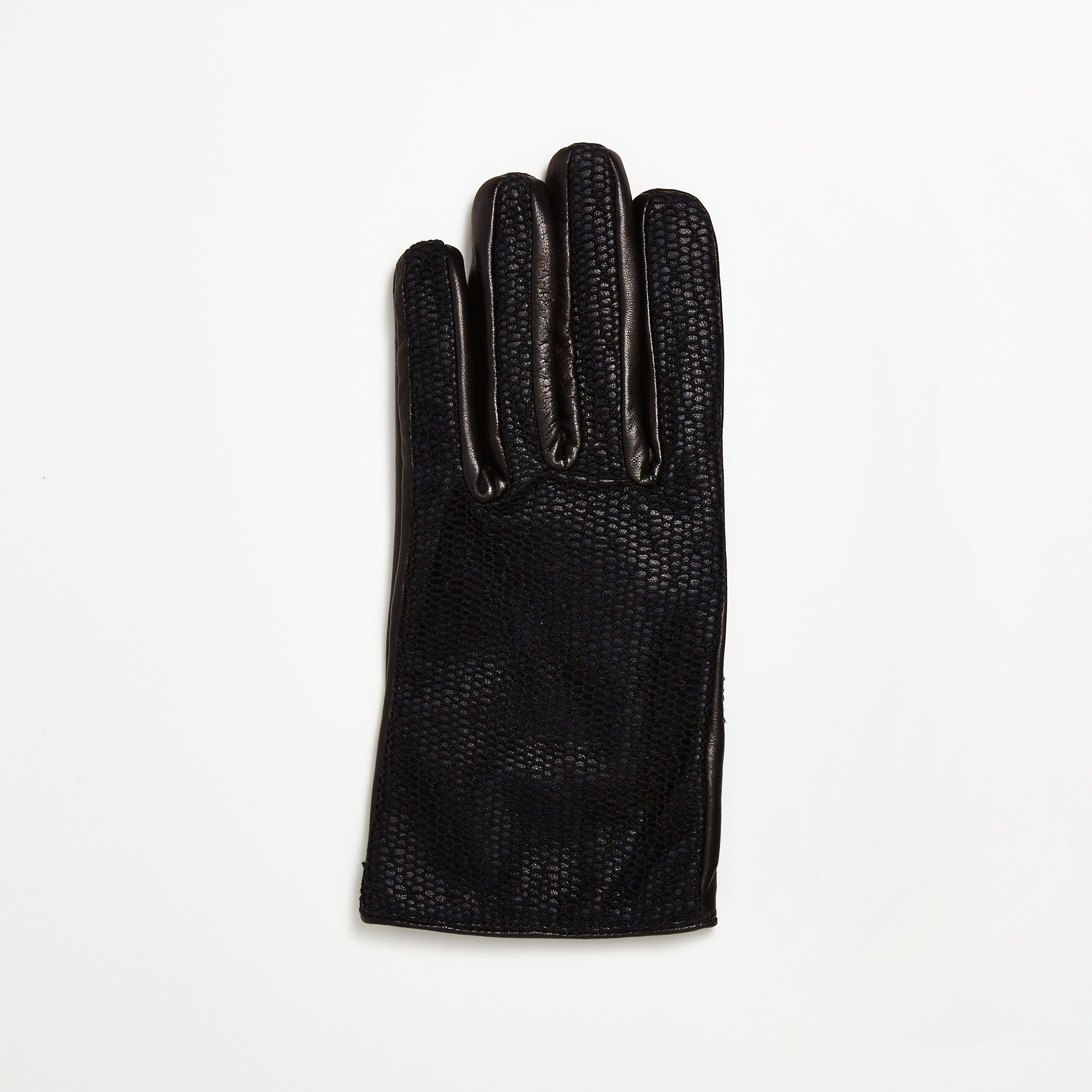 Leather Gloves with Mesh Lace Overlay
