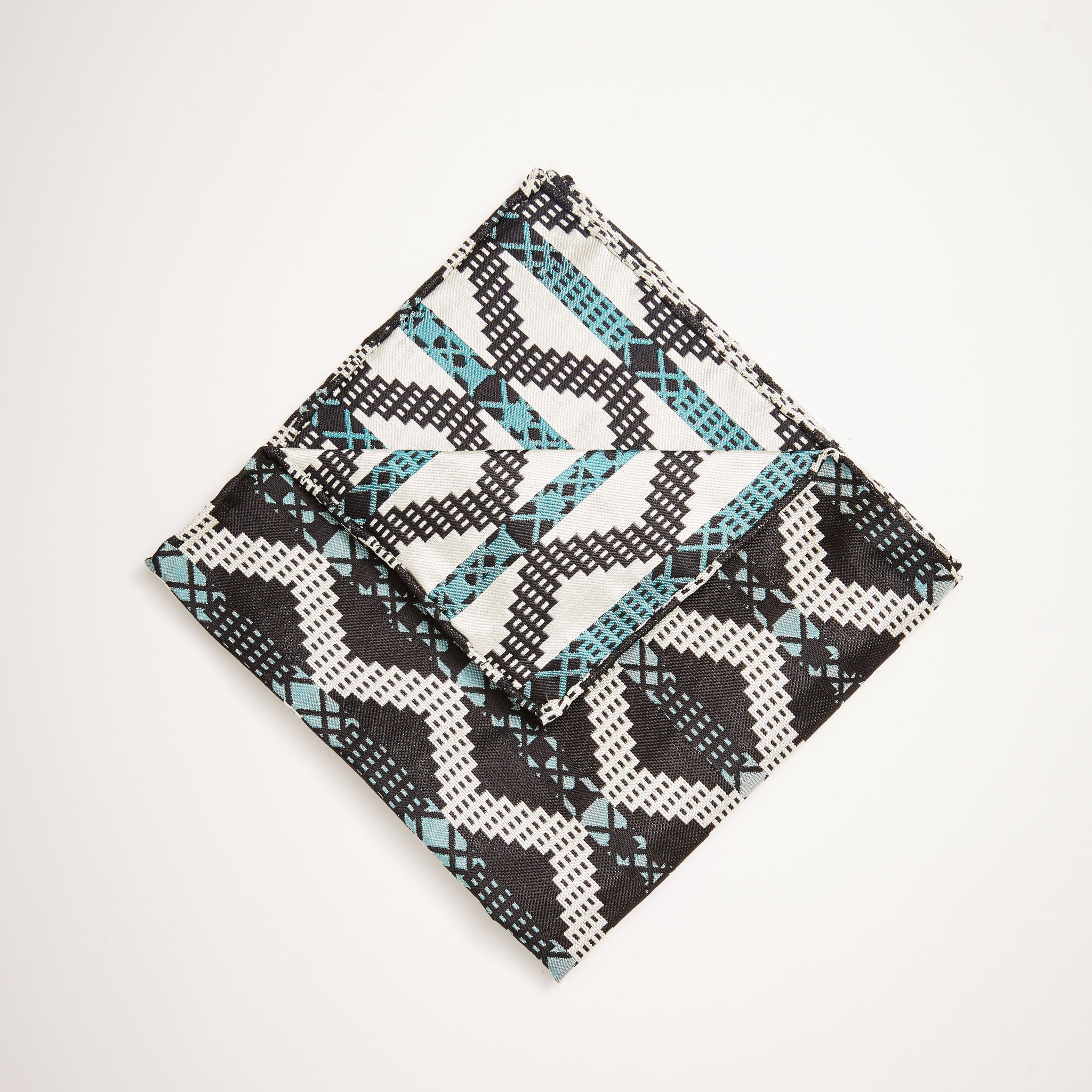 Grid Stripe Silk Pocket Square