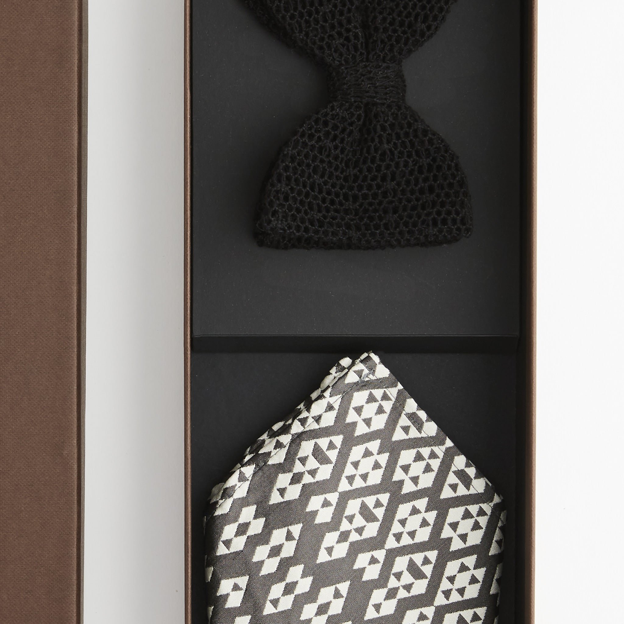 Gift Set - Mesh Lace Bow Tie & Harlequin Pocket Square
