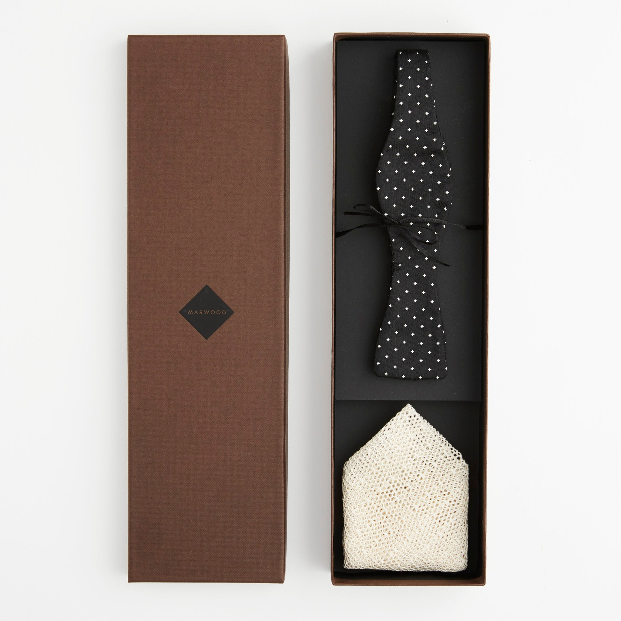 Gift Set - Self-Tie Bow Tie & Lace Pocket Square