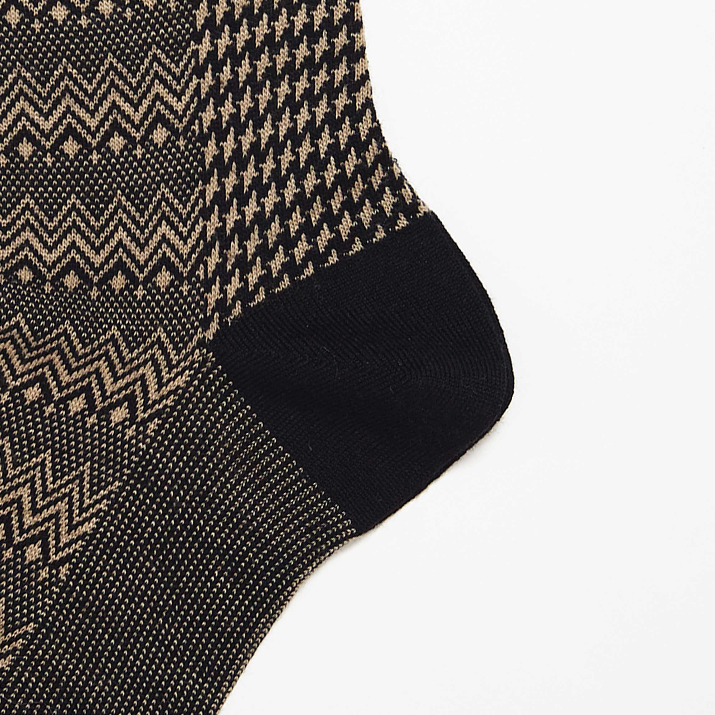Black Marwood Zigzag Merino Wool Socks