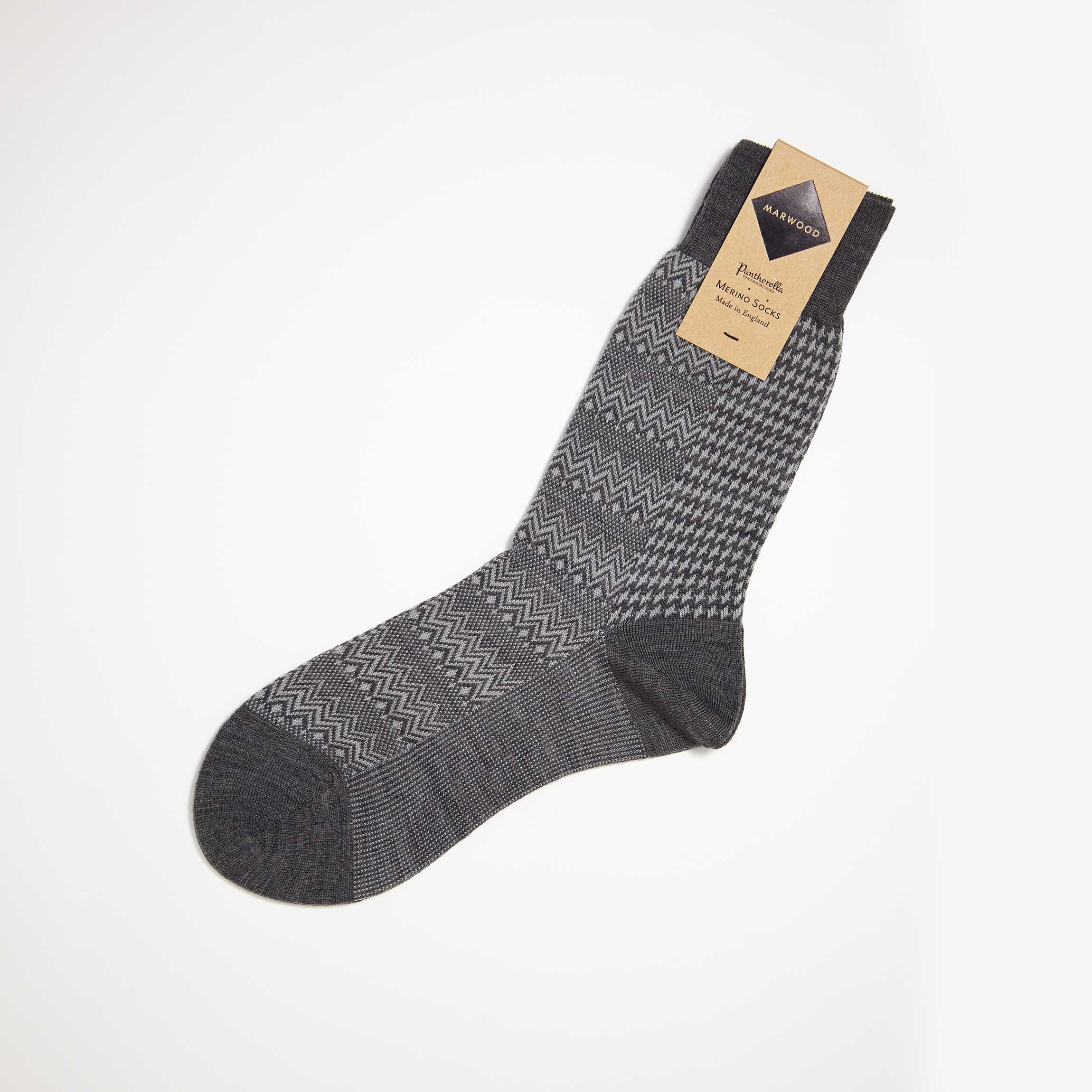 Grey Marwood Zigzag Merino Wool Socks