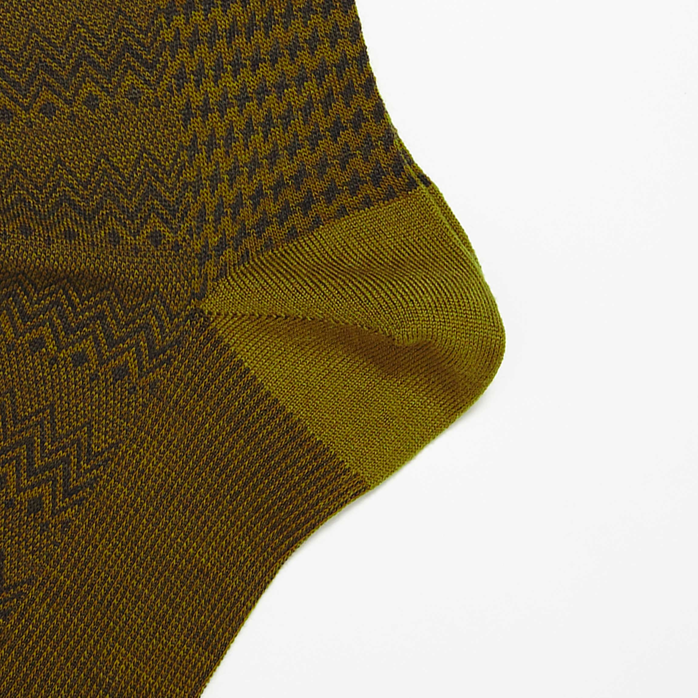 Khaki Marwood Zigzag Merino Wool Socks