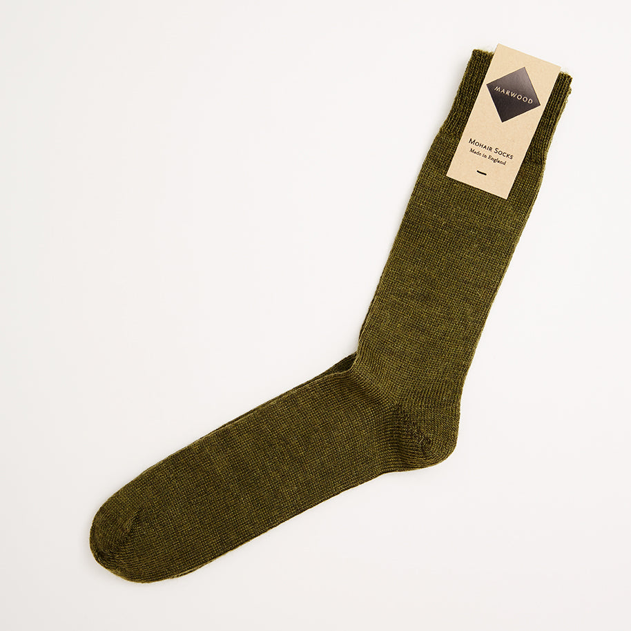 Khaki Green Plain Knit Mohair Socks