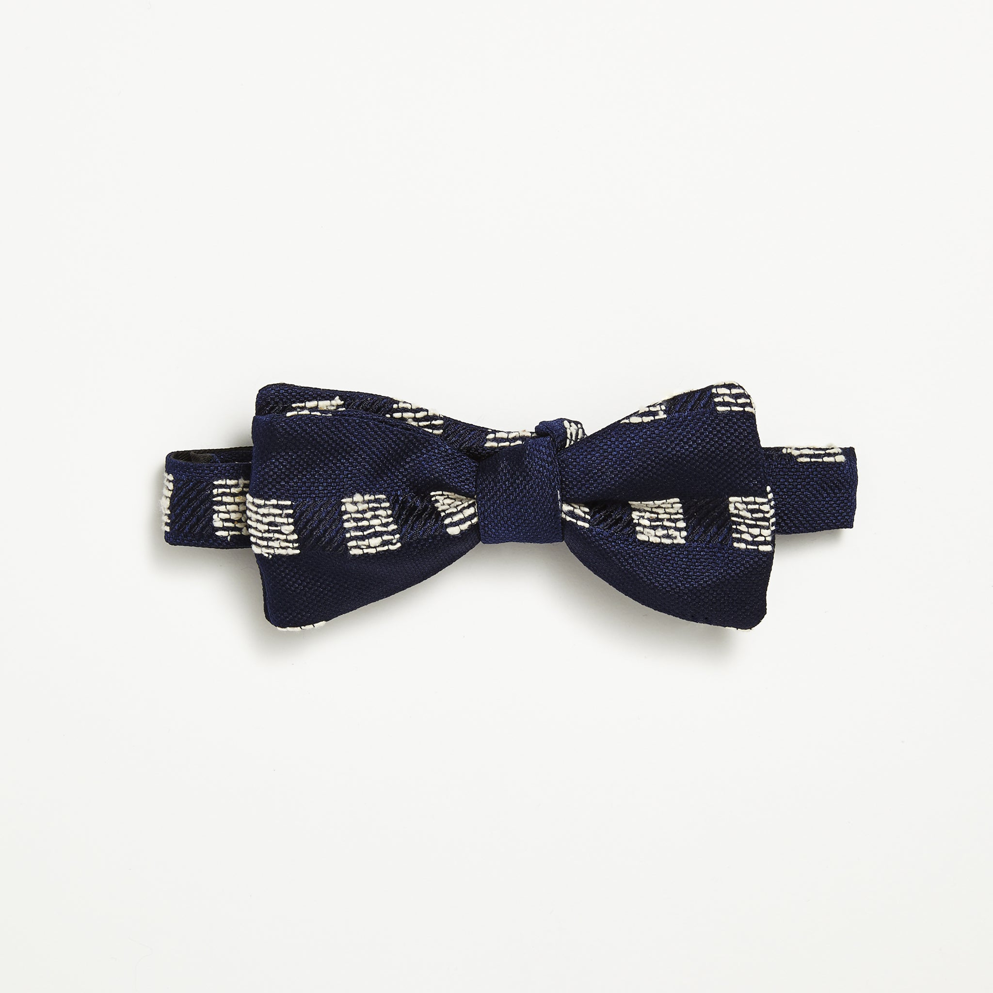 Navy Slub Square Silk Bow Tie