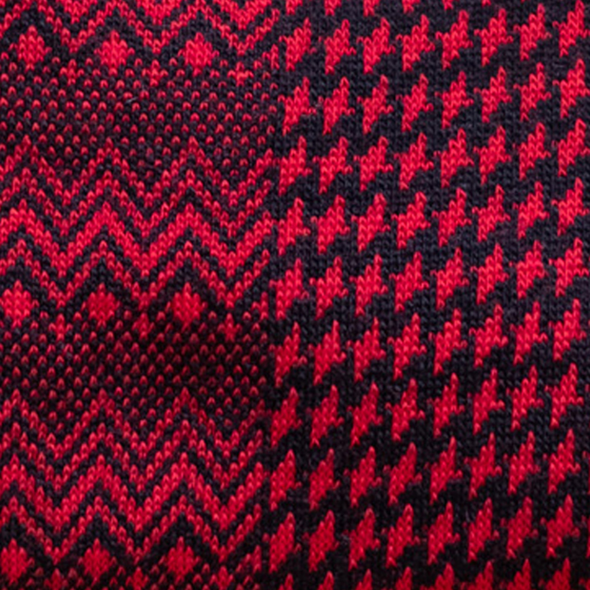 Red Marwood Zigzag Merino Wool Socks