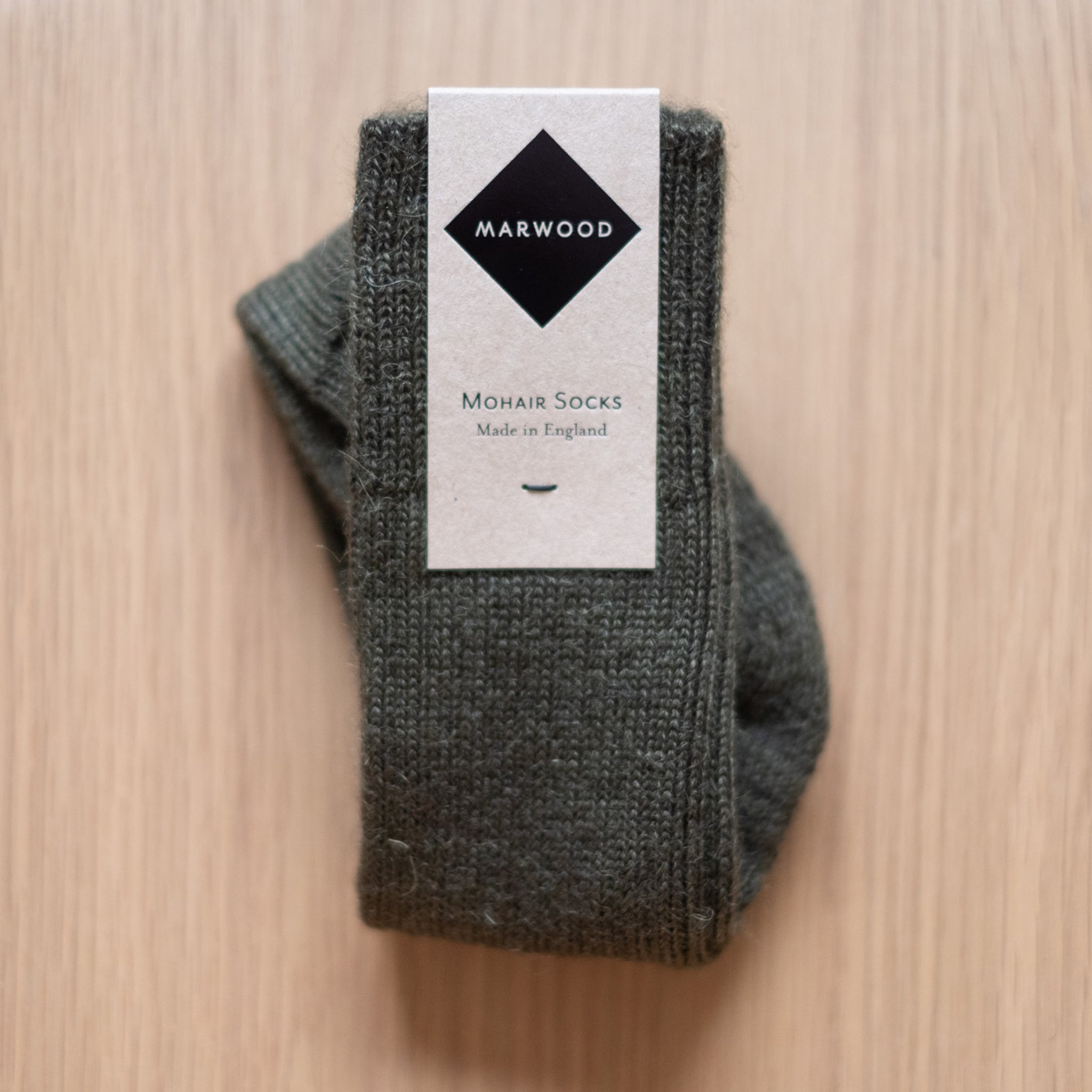 Olive Heavy Knit Mohair Socks