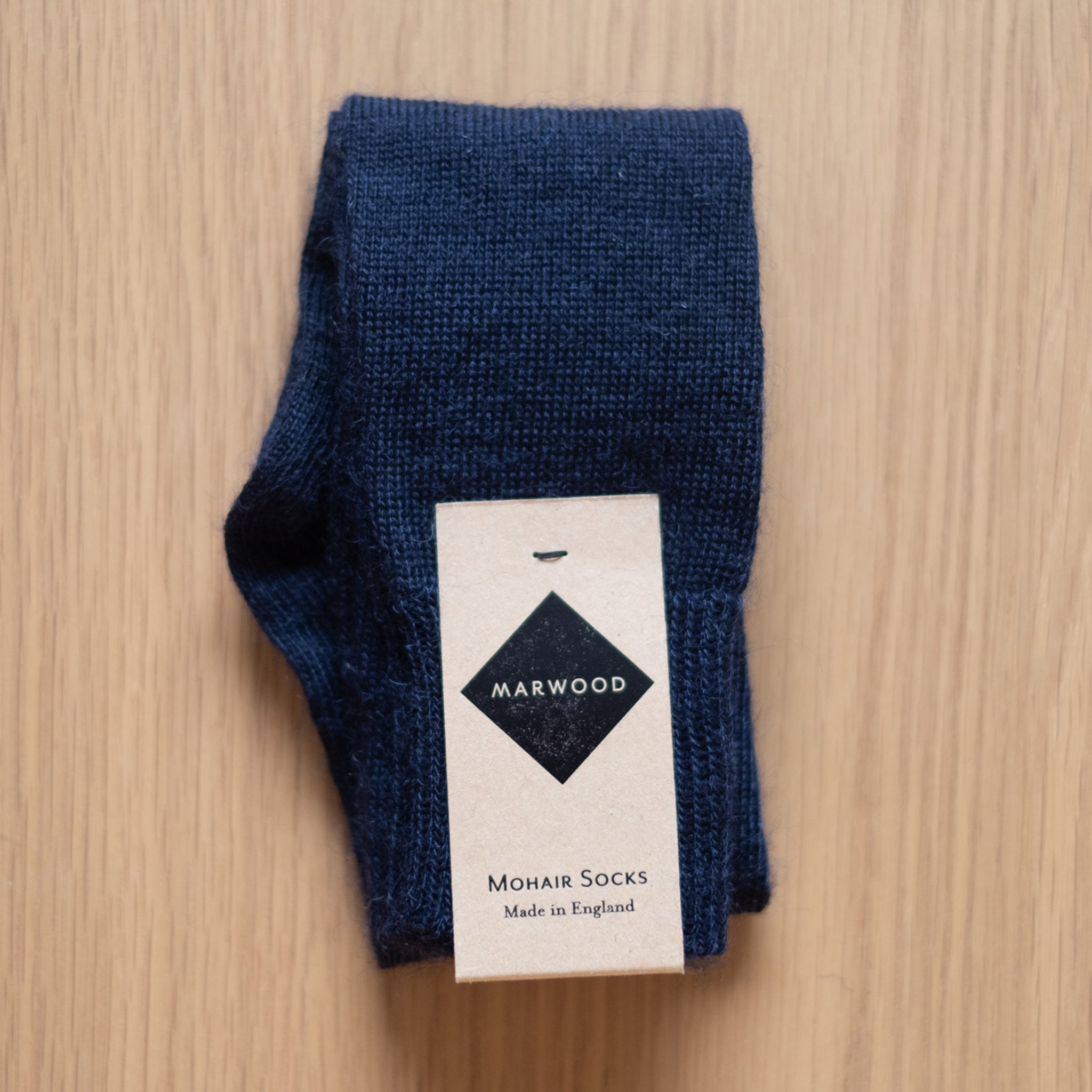 Midnight Navy Plain Knit Mohair Socks