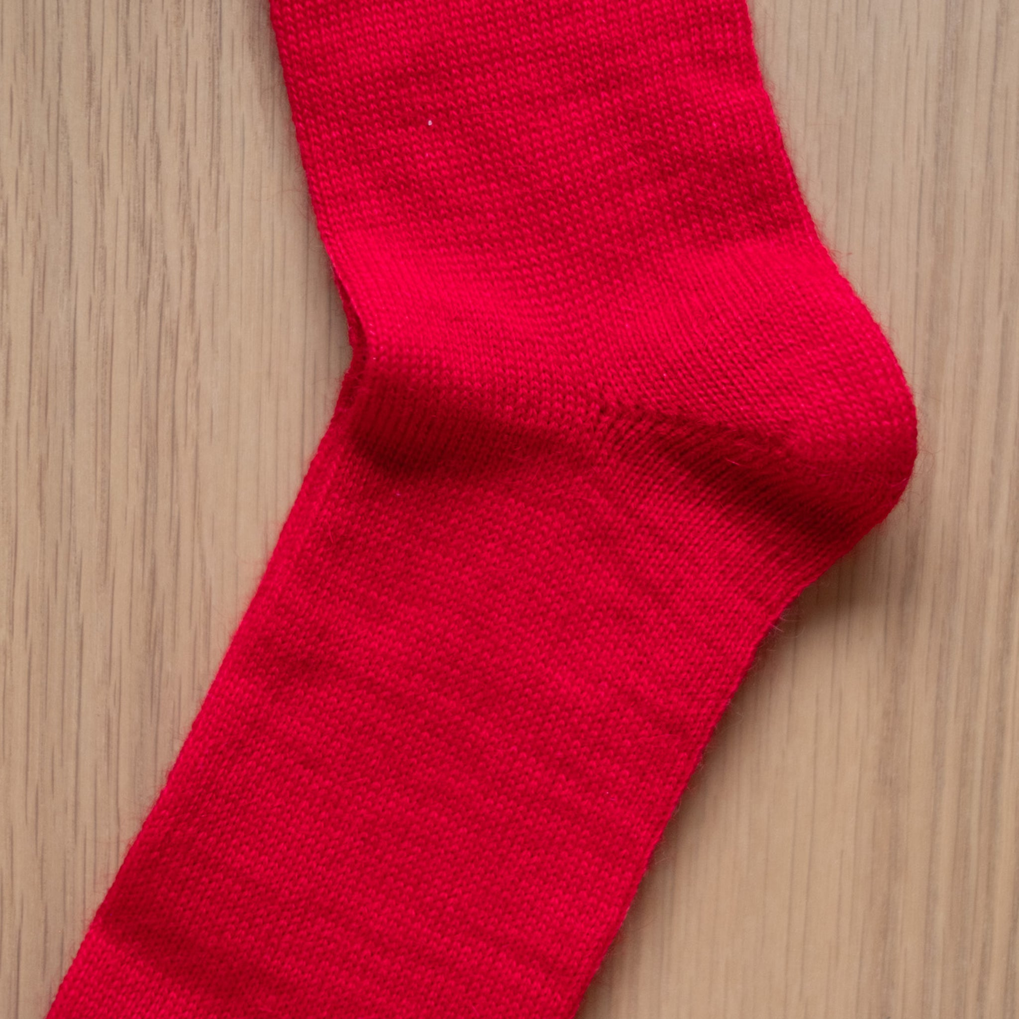 Red Plain Knit Mohair Socks