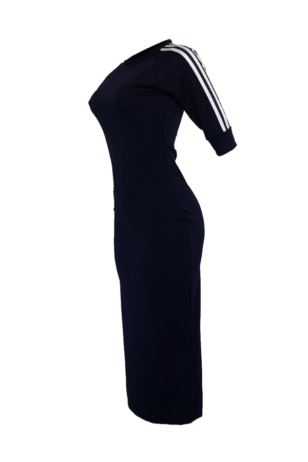 Roaso Sexy Round Neck Striped Polyester Sheath Mid Calf Dress