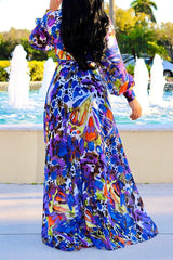 Roaso Bohemian Floral Printed Chiffon Floor Length Dress