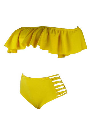 Roaso Pretty Bateau Neck Flounce Two-piece Swimwears - ROASO