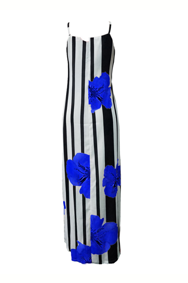 RoasoCasual U Neck Striped+Floral Printed Floor Length Dress
