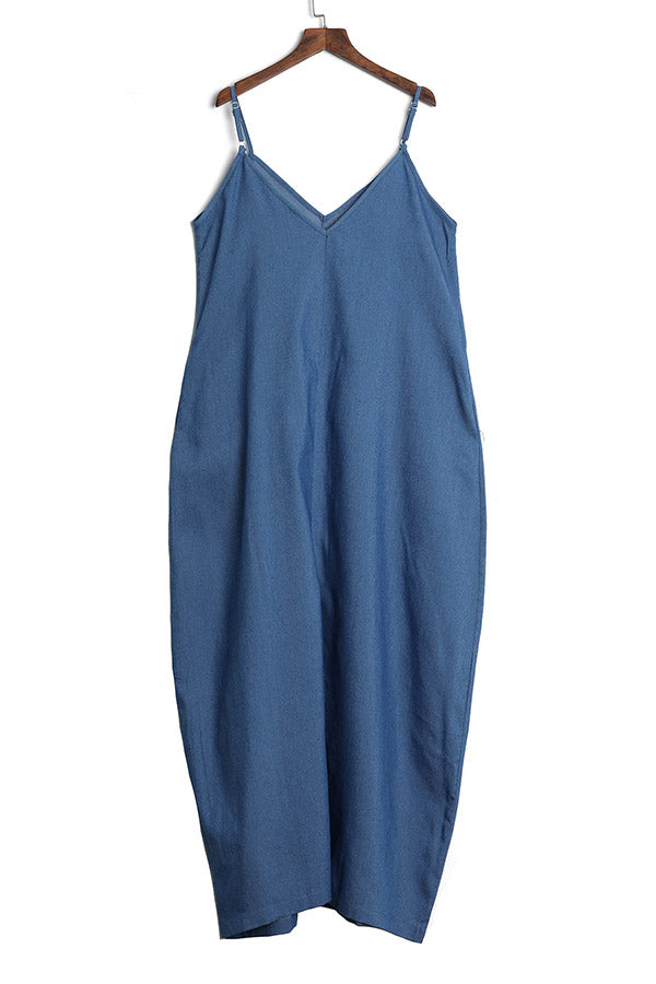 Roaso Fashion V Neck Blue Denim Floor Length Dress